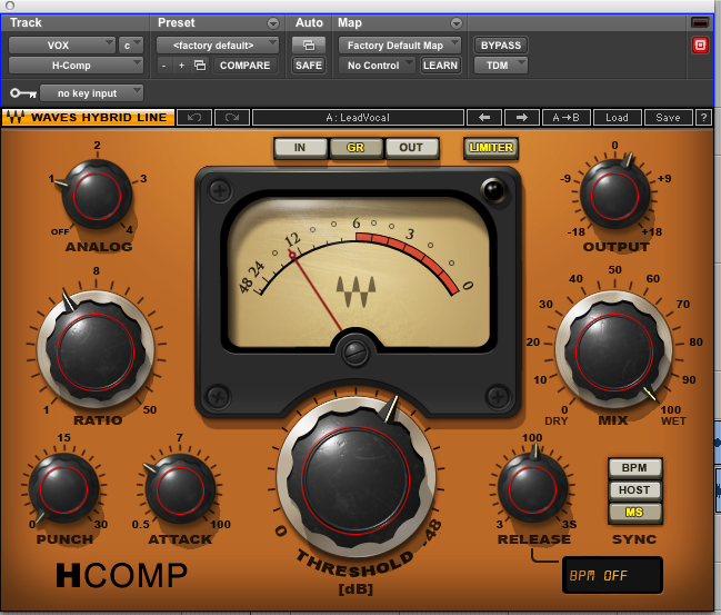Waves H-Comp Preset for Lead Vocal